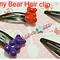 Gummy bear hair clip made of Polymer clay,Cute Bear Hair clips,Kawaii hair clips